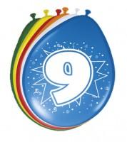 """Luftballon-Set """"9 Jahre"""" - bunt - 8 Stück"""