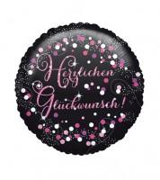"""Runder Folienballon """"Sparkling Pink"""" - Herzlichen Glückwunsch"""