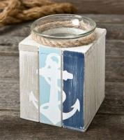 Kerzenhalter aus Holz mit Teelicht - Anker