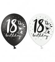 """Luftballon-Set """"18th Birthday"""" - schwarz/weiß - 50 Stück"""