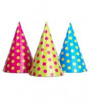 Partyhüte mit Punkten - bunt - 6 Stück