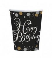 """Pappbecher """"Sparkling Celebration"""" - Happy Birthday - 8 Stück"""