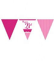 "Wimpelgirlande aus Papier ""Perfectly Pink"" - Happy 21st - 3,7 m"