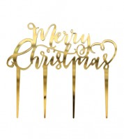 "Cake-Topper ""Merry Christmas"" - gold"