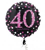 "Runder Folienballon ""Sparkling Pink"" - 40. Geburtstag"