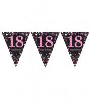 """Wimpelgirlande """"Sparkling Pink"""" - 18. Geburtstag - 4 m"""