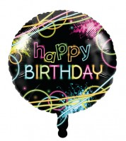 "Runder Folienballon ""Neon Party"" - Happy Birthday"