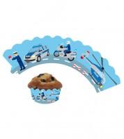 "Cupcake-Wrapper ""Polizei"" - 12 Stück"