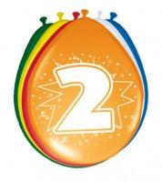 """Luftballon-Set """"2 Jahre"""" - bunt - 8 Stück"""