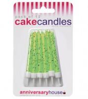 Kuchenkerzen mit Glitter - hellgrün - 12 Stück