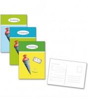"""Einladungs-Postkarten """"Einschulung"""" - blau/grün/gelb - 6 Stück"""