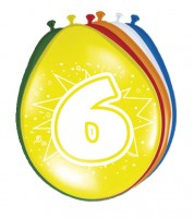"""Luftballon-Set """"6 Jahre"""" - bunt - 8 Stück"""
