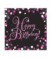 """Servietten """"Sparkling Pink"""" - Happy Birthday - 16 Stück"""