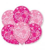 """Luftballon-Set """"Birthday Girl"""" - rosa/pink - 6 Stück"""