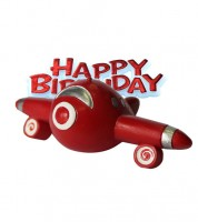 "Tortendekoration ""Flugzeug"" Happy Birthday - 2-teilig"