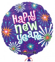 "Runder Folienballon ""Happy New Year"" - lila/bunt - 53 cm"