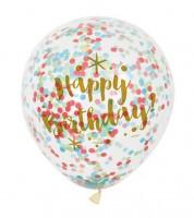 "Konfetti-Ballons ""Happy Birthday"" - gold/bunt - 6 Stück"