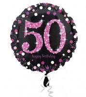 "Runder Folienballon ""Sparkling Pink"" - 50. Geburtstag"