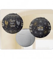 "Lampion-Set ""Happy New Year"" - 3-teilig - 24 cm"
