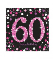 """Servietten """"Sparkling Pink"""" - 60. Geburtstag - 16 Stück"""