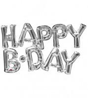 "Folienballon-Set ""Happy B-Day"" - silber"