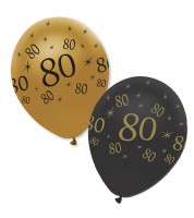 "Luftballon-Set ""80"" - schwarz/gold - 6 Stück"
