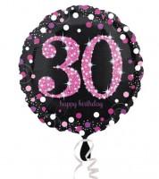 "Runder Folienballon ""Sparkling Pink"" - 30. Geburtstag"