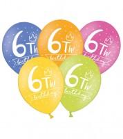 "Luftballon-Set ""6th Birthday"" - bunt - 6 Stück"