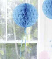 Wabenball mit Tasseln - 30 cm - hellblau