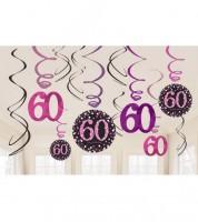 """Spiralgirlanden """"Sparkling Pink"""" - 60. Geburtstag - 12 Stück"""