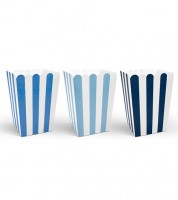Popcorn-Boxen mit Streifen - dunkelblau, mittelblau, hellblau - 6 Stück