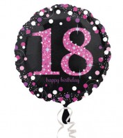 "Runder Folienballon ""Sparkling Pink"" - 18. Geburtstag"