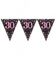 """Wimpelgirlande """"Sparkling Pink"""" - 30. Geburtstag - 4 m"""