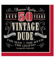 """Servietten """"Vintage Dude - 50. Geburtstag"""" - 16 Stück"""