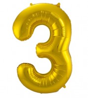 "SuperShape Folienballon ""3"" - gold"
