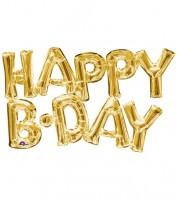 "Folienballon-Set ""Happy B-Day"" - gold"