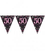 """Wimpelgirlande """"Sparkling Pink"""" - 50. Geburtstag - 4 m"""