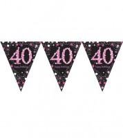 """Wimpelgirlande """"Sparkling Pink"""" - 40. Geburtstag - 4 m"""