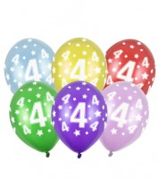 "Metallic-Luftballons ""4"" mit Sternen - 6 Stück"