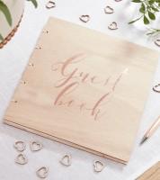 Gästebuch mit Holz-Einband - rosegold
