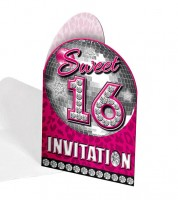 """Einladungskarten """"Sweet 16 - Discokugel"""" - 8 Stück"""
