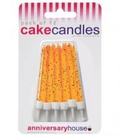 Kuchenkerzen mit Glitter - orange - 12 Stück