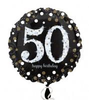 "Runder Folienballon ""Sparkling Celebration"" - 50. Geburtstag"
