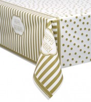 "Kunststoff-Tischdecke ""Dots and Stripes"" - gold - 137 x 213 cm"