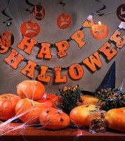"Schriftzug-Girlande ""Happy Halloween"" - orange - 2,1 m"