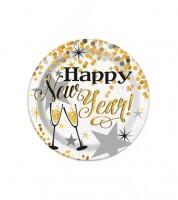 """Kleine Pappteller """"Happy New Year"""" - weiß/gold - 8 Stück"""
