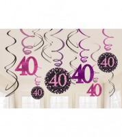 """Spiralgirlanden """"Sparkling Pink"""" - 40. Geburtstag - 12 Stück"""