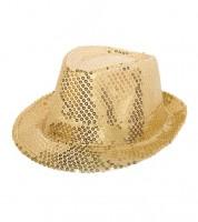 Trilby-Hut mit Pailletten - gold