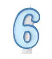 """Geburtstagskerze """"6"""" - hellblau/dunkelblau"""