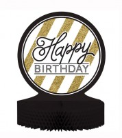 "Wabenaufsteller ""Black & Gold"" - Happy Birthday"